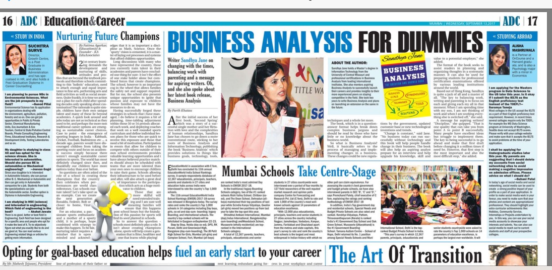 Sandhya Jane, Author-interview with Education Times